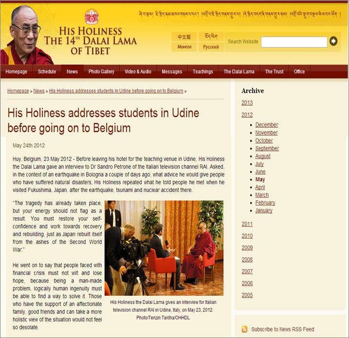 L'intervista sul sito del Dalai Lama